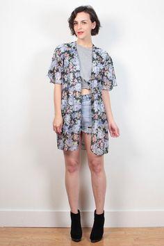 Vintage 1980s Robe Jacket Semi Sheer Black Floral Print Duster Jacket 80s Lingerie Boho Draped Kimono Jacket Scarf Print Layering M Medium L #vintage #etsy #1980s #80s #floral #kimono #duster #robe #jacket