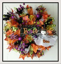 """Boo"" Halloween Deco mesh wreath DDL Designs $ 90"