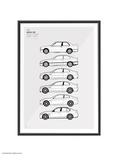 Features the M3 Generations. E30, E36, E46, E92, F80 A2 420mm x 600mm (23.4 x 16.5) These are high quality fine art prints. Printed using an Epson