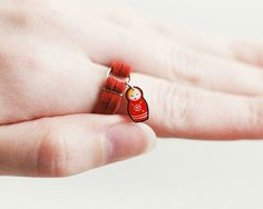 Russian Nesting Doll Leather Charm Ring