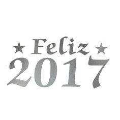 Feliz Ano Novo 2017 - Prata / Letras / 10 Unid.