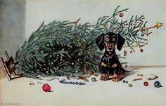 Oops! A Christmas Postcard by August Roeseler (1866 -1934)