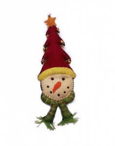 Snowmen with Red Christmas Tree Hat Wool Felted Applique Ornament | Little Handcrafts