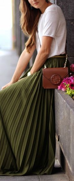 Pleated olive green maxi skirt.