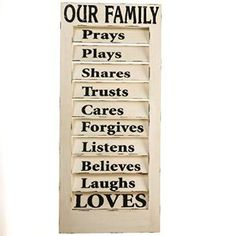 A family who prays, cares, laughs and loves can display this wood shutter sign proudly on the front porch. Pick it up for your home at Cracker Barrel Old Country Store.