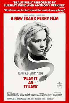 """PLAY IT AS IT LAYS 1972 DVD. Hollywood Decadence. The lives of the rich and bored Los Angeles film community are examined through a fragmented lens in Play It As It Lays. In Hollywood, the idle rich have money, but little else. The sun is always shining, everyone drives a sports car and cocktails are sipped in expensive Malibu homes. If you've ever read a headline about a person who """"has it all"""" and commits suicide, this film may offer an understanding of how that could happen."""