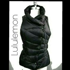 FLASH SALE Lululemon Get Down Vest sz M 8-10 Black Lululemon GetDownVest Black reversible One side is the peacock quilted pattern and the other is a puffer It has adjustable belt & offset buttons on puffer side. There are Lululemon emblems on all of the snaps and buckles & metal ones on the back of the neck on both sides. The down makes this very warm and cozy. No size tag but I believe this to be a size 8 it comfortably fits a medium a little snug size large in the bust. This is a rare vest…