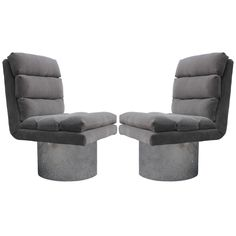 Pair of Chrome Base Swivel Lounge Chairs | From a unique collection of antique and modern lounge chairs at https://www.1stdibs.com/furniture/seating/lounge-chairs/