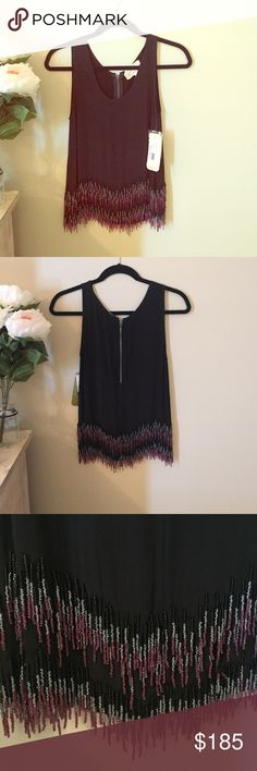 Nicole Miller beautiful beaded top Never worn Nicole Miller fringe tank with black, silver and pink beading. 100% silk Nicole Miller Tops Tank Tops