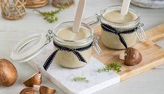 Crema de champiñones y puerros Mason Jars, Coffee Maker, Kitchen Appliances, Tableware, Recipes, Ideas, Sauces, Appetizers, Meals