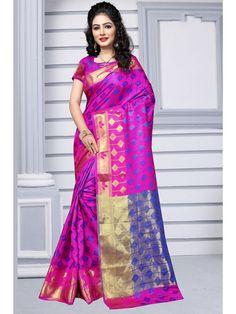 Artistic Rani Pink Silk Saree