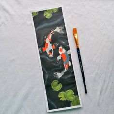 I painted this on a day where I was feeling really low. The way the water flowed around the fish really calmed me down, and by the end of the song I was bopping to Alec Benjamin. I used Acrylic Paint and I primed with Gesso. Water Flow, Paper Dimensions, Koi, Paintings, Fish, Handmade, Hand Made, Paint, Painting Art
