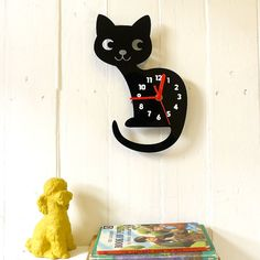 Custom Colour Cat Wall Clock with Numbers - Laser Cut Clock Engraved Acrylic Kids Children's Nursery Cute Numbered Fun Kawaii