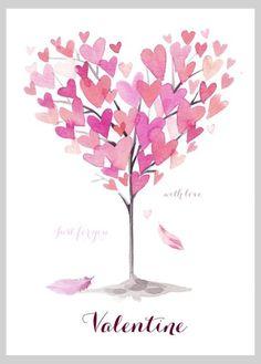 Victoria Nelson - Watercolour Hearts Tree Valentine Copy