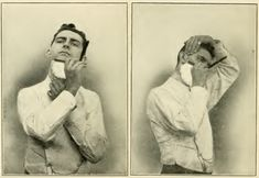 old photo of a man giving himself a shave - great for a man's bathroom!