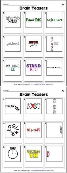 Teach Your Child to Read - Check out our collection of brain teasers, like this rebus puzzle! These printable activities help students develop critical thinking skills. - Give Your Child a Head Start, and.Pave the Way for a Bright, Successful Future. Rebus Puzzles, Word Puzzles, Logic Puzzles, Mind Games Puzzles, School Classroom, Classroom Activities, Music Classroom, Classroom Ideas, Critical Thinking Skills