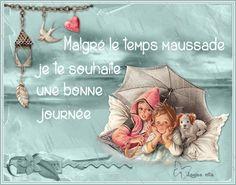 Bonne journée, Martine, parapluie, chien, pluie, animé