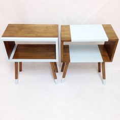Our lovely handmade tables can be customized in a color of your choice. Message us for details. Diy Furniture Renovation, Home Decor Furniture, Painted Furniture, Furniture Design, Handmade Table, Handmade Furniture, Unique Furniture, Painted End Tables, Mid Century Furniture