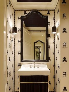 Love this bathroom! And I'm not usually into b&w but the wallpaper is sooo cute! #wallpaper