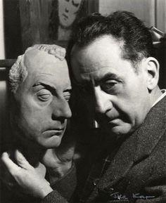 "Man Ray,[with his ""mask""] ca 1954, by Ida Kar  chagalov  via NPG"