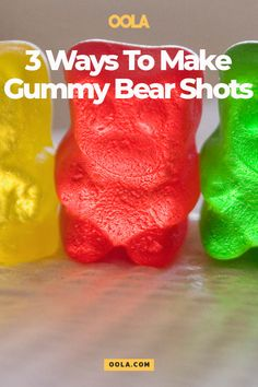 "Gummy bear shots are the grownup version of your childhood fave. Here are 3 gummy bear shot recipes that you can make for any ""over occasion. Alcoholic Gummy Bears, Drunk Gummy Bears, Gummy Bear Shots, Vodka Gummy Bears, Jello Shot Recipes, Sangria Recipes, Jello Shots, Fun Shots, Alcohol Recipes"