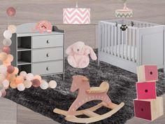 pink and grey baby girl room. www.clemaroundthecorner.com Une chambre de bébé rose et grise Idée Inspiration