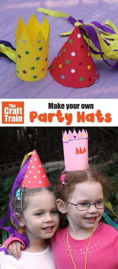 Easy DIY party hat craft for kids with printable template. This simple birthday craft is fun for all ages and suitable for both boys and girls | Easy crafts for kids #kidsparties #kidscrafts #birthdaycraft #kidsactivities #partyhats #diyparties #printablecrafts #funkidscrafts #thecrafttrain