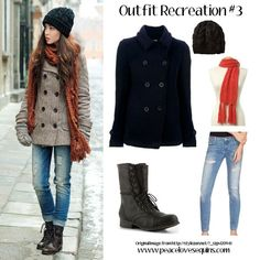 Winter Coat | Combat Boots | Cable Knit Beanie | Scarf | Jeans