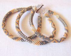Beadwork 3 Strand Bead Crochet Rope Bracelet in light grey
