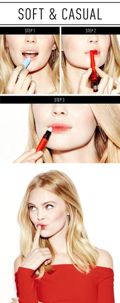 SOFT RED LIPS TUTORIAL: Master this pretty and casual lip look by first exfoliating lips and then applying a balm to moisturize them. Then apply Maybelline's Color Blur to the middle of upper and lower lips. Soften and spread the color by using the smudger on the other end of the pencil. Gently rub it back and forth on lips to create the ~ombre~ look. If you don't have this special tool, you can still blend the color by gently patting your lips with your finger. Find the full tutorial here!