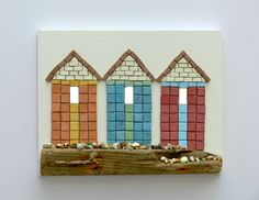Beach Huts And Driftwood Beach Mosaic Wall Art--unique, and sold. A lovely idea!