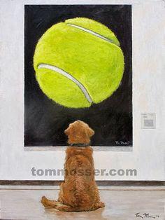 網球場的路上。to the tennis court: 黃金獵犬與網球的藝術