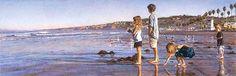 Steve Hanks Limited Edition Artwork Children on La Jolla shores