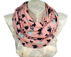 Cotton Lightweight Soft Pink Infinity Scarf Tube by HeraScarf, $13.90