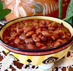This dish is all about FLAVOR.  San Antonio and Ft. Worth are my two favorite places to be when in Texas.  This recipe was inspired by some dining experiences there and, to my palate, is as Texas as bluebonnets in Spring.    Sweet and spicy, richly textured, these beans cry out for anything BBQ'd, grilled or broiled.