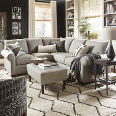 Alexander Small L-Shaped Sectional – Family Room İdeas 2020 Small Couches Living Room, Small Space Sectional, Small Living Room Layout, Simple Living Room Decor, Living Room Decor Inspiration, New Living Room, My New Room, Living Room Designs, Couches For Small Spaces
