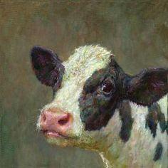 Kalfje - Karel Buskes Farm Animals, Animals And Pets, Cute Animals, Cow Pictures, Animal Pictures, Cow Painting, Cow Art, Western Art, Animal Paintings