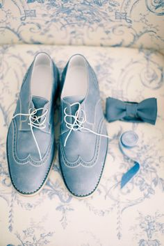 Dusty blue for the groom