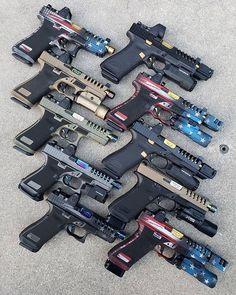Glock's With Firing Squad Firearms Customization Package! Glock Guns, Weapons Guns, Guns And Ammo, Zombie Weapons, Custom Glock, Custom Guns, Big Guns, Cool Guns, Submachine Gun