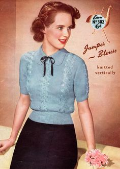 Vintage Women's Lacy Jumper Blouse, 1950's knitting pattern.