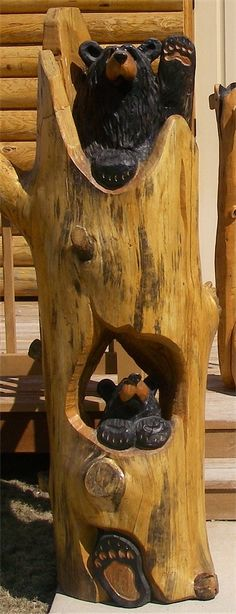 Quot chainsaw carved brown bear wood carving wooden