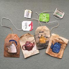 Perfect snow day to put on a pot or two of tea Tea Bag Art, Tea Art, Paper Art, Paper Crafts, Creative Bookmarks, Arte Sketchbook, Gcse Art, Recycled Art, Art Journal Inspiration