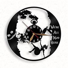 Alice In Wonderland Vinyl Record Wall Clock, Mad Tea Party Clock Laser Cut  Of Vinyl