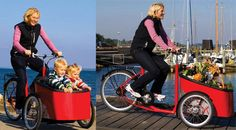Yet another Danish cargo trike, although this one is manufactured in Germany. The Mobii comes with standard accessories such as: fenders/mudguards, mud flap, coat or skirt guard, chain guard, enclosed hub driven lights, kick stand, bell and a rear carrier. Used a child carrier is offers excellent observation and communication between rider and passengers. The high sided cargo hold absorbs a massive load of groceries or other goods. Velorbis