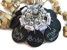 Personalized Bachelorette Party Favors, Bachelorette Party Wine Charm Favors, Chalkboard Wine Glass Charms with Personalized Paper Beads by AtHomeWithWords on Etsy https://www.etsy.com/listing/291863309/personalized-bachelorette-party-favors
