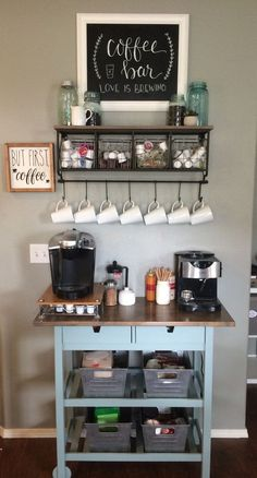 Home Coffee Bar Furniture . Home Coffee Bar Furniture . 48 Stunning Diy Coffee Bar Ideas for Your Home Interior Wine And Coffee Bar, Coffee Bars In Kitchen, Coffee Bar Home, Home Coffee Stations, Coffee Bar Ideas, Kitchen Bars, Diy Coffe Bar, Kitchen Storage, Office Coffee Station