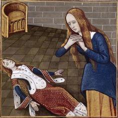 LXVIII-Lamentations d'Harmonia, fille de Gélon de Sicile (HARMONIA, daughter of Gelon, son of Hiero II of Syracuse) -- Giovanni Boccaccio (1313-1375), Le Livre des cleres et nobles femmes, v. 1488-1496, Cognac (France), traducteur anonyme. -- Illustrations painted by Robinet Testard -- BnF Français 599 fol. 59