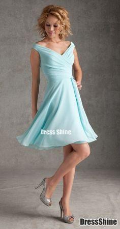 A Line V-Neck Chiffon Knee Length Bridesmaid Dresses - Bridesmaid Dresses - Wedding Party Dresses