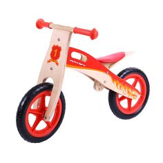 After Noah - Red Wooden Balance Without Pedals Bike - Natural/Red Learning Spaces, Kids Learning, Restaurant Flyer, Power Wheels, Balance Bike, Gross Motor Skills, Personalized Baby Gifts, Tricycle, Good Job