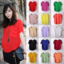 Sexy Women Ladies Chiffon Tops Blouse Sheer Batwing Short Sleeve Loose T Shirt
